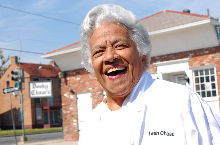 Chef Leah Chase stands outside her famous Creole restaurant, Dookie Chase's, which was flooded out during Hurricane Katrina,
