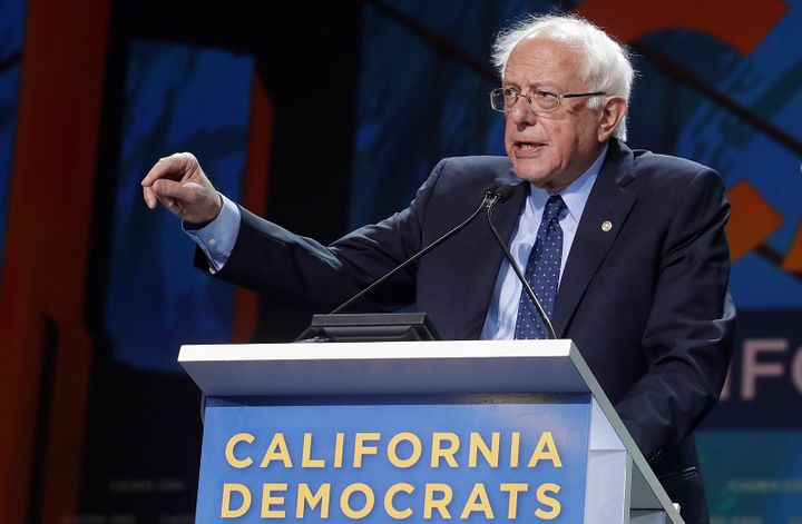 Sen. Bernie Sanders (I-Vt.) speaks during the 2019 California Democratic Party convention in San Francisco on Sunday.