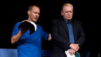 Pastor David Platt, left, prays for President Donald Trump, at McLean Bible Church, in Vienna, Va., Sunday June 2, 2019. (AP Photo/Jacquelyn Martin)