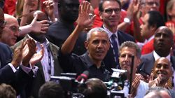 Obama Receives A Very Canadian Welcome At Raptors'