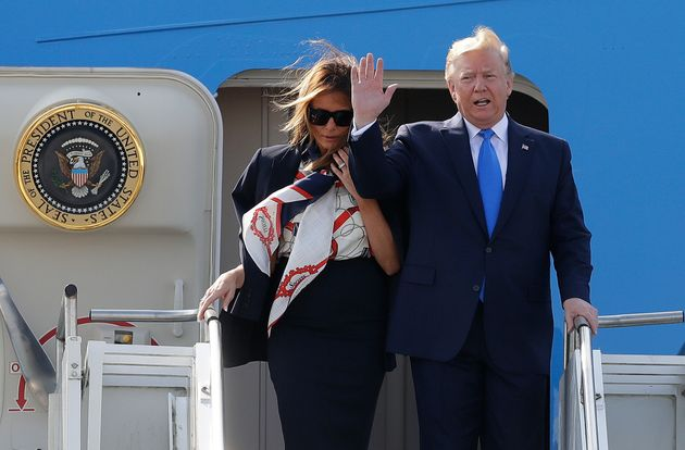 Trump and his wife touched down at London's Stansted Airport on Monday