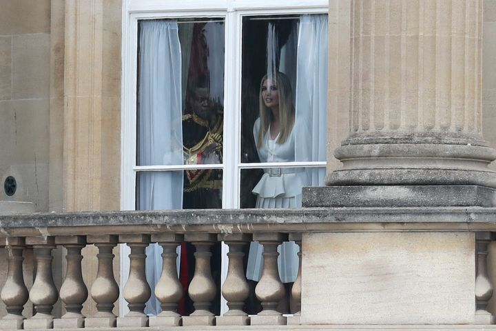 Ivanka Trump was seen peering from a window in Buckingham Palace.