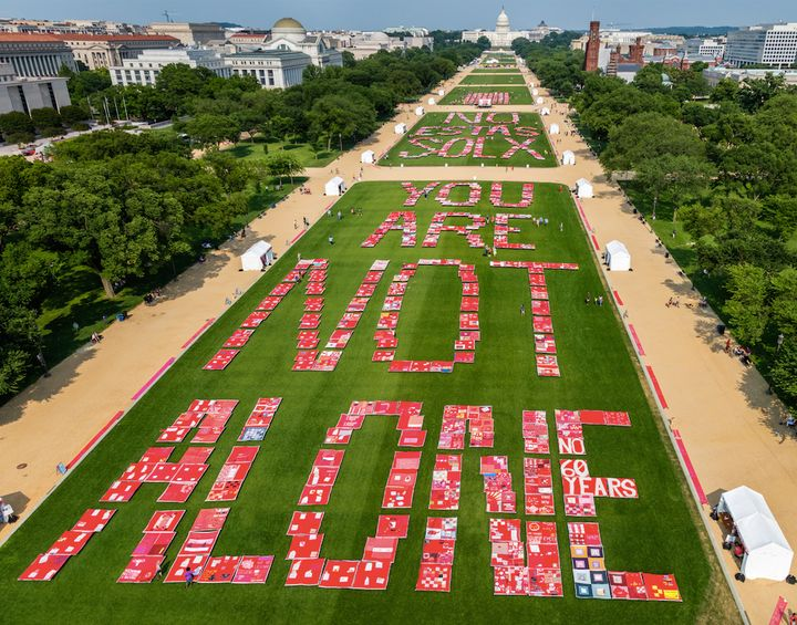 The Monument Quilt displayed on the National Mall in front of the White House in Washington, D.C.