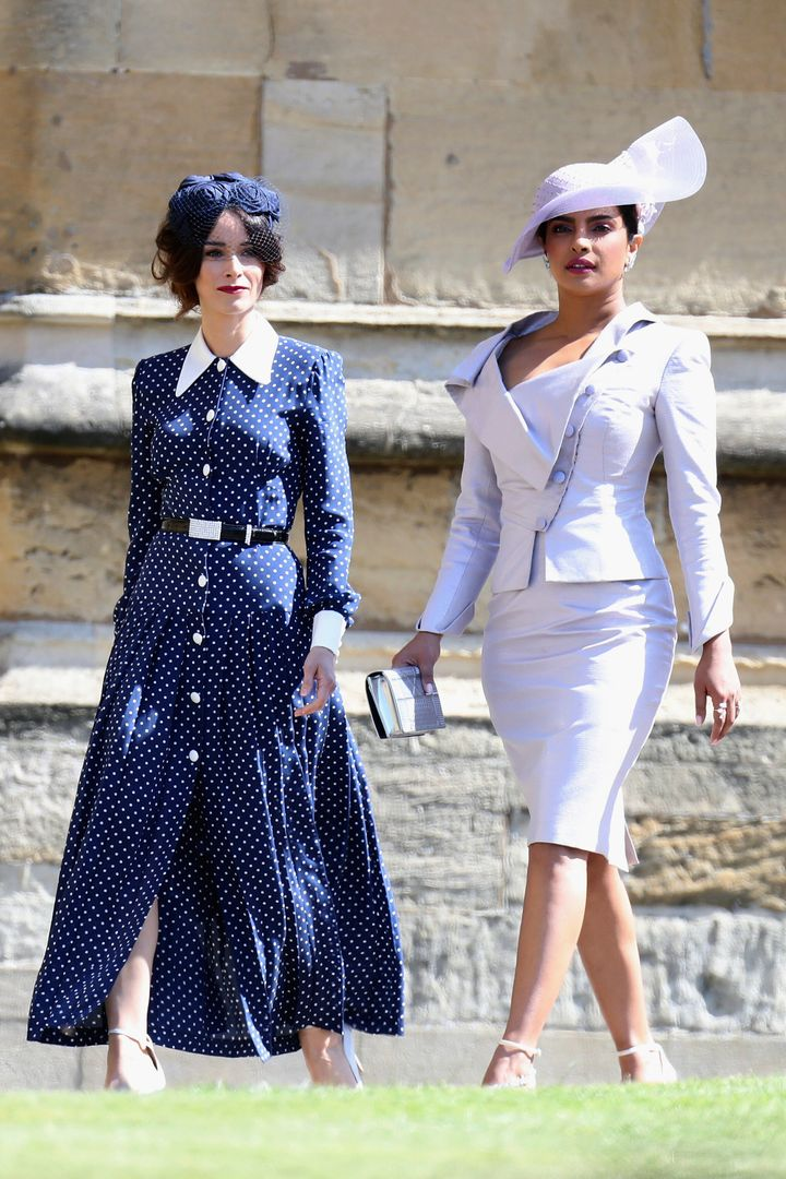 Abigail Spencer, left, and Priyanka Chopra arrive for the wedding ceremony of Prince Harry and Meghan Markle at St. George's Chapel on May 19.