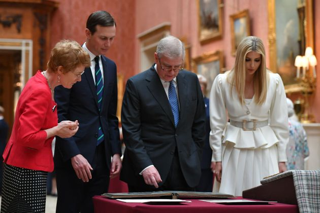Jared Kushner and Ivanka Trump (left and right) are shown an exhibit from the Royal Collection by Prince...