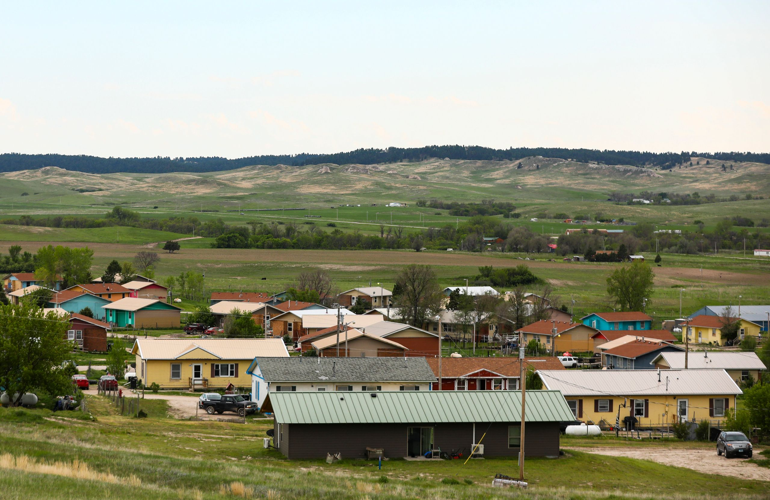 A group of homes on the Pine Ridge Reservation in South Dakota on May 31, 2019.