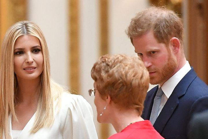 Prince Harry appeared flushed while listening to a Royal Collection expert alongside Ivanka Trump.