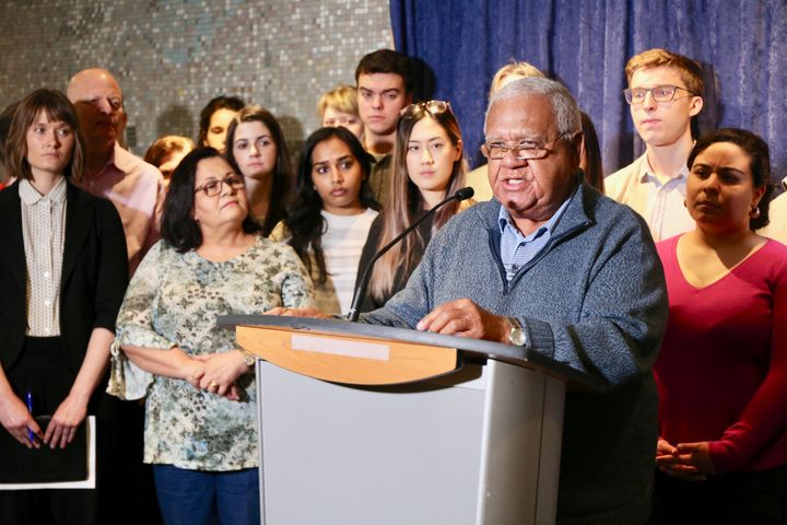 Neville Jacobs spoke at a news conference at Toronto city hall in May to protest the legal aid cuts. He was joined by advocates, city councillors, lawyers and law students.