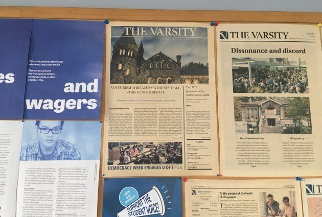 Jack Denton's first story for The Varsity hangs on a bulletin board in the student newspaper's Toronto office.