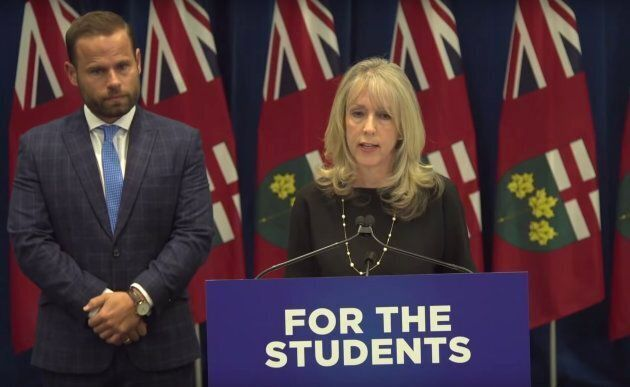 Ontario Minister of Training, Colleges and Universities Merrilee Fullerton speaks to reporters at Queen's...