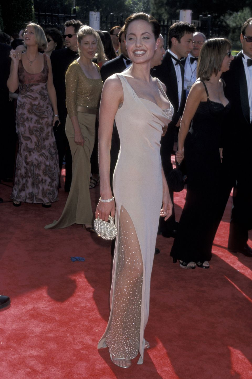 Jolie wore this nude-toned gown for the 50th annual Emmy Awards.