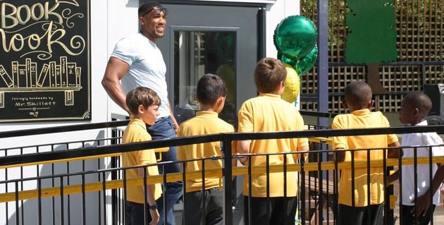 Anthony Joshua on a visit to Rob's then school in North