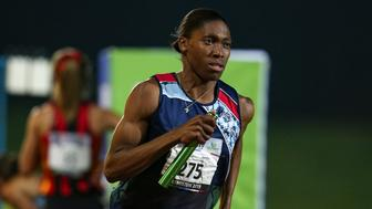 In this photo taken Saturday April 27, 2019, South Africa's athlete Caster Semenya competes in an event at a meeting in Johannesburg.  Semenya lost her Court of Arbitration for Sport appeal Wednesday May 1, 2019, against rules designed to decrease naturally high testosterone levels in some female runners.(AP Photo/Roger Sedres)