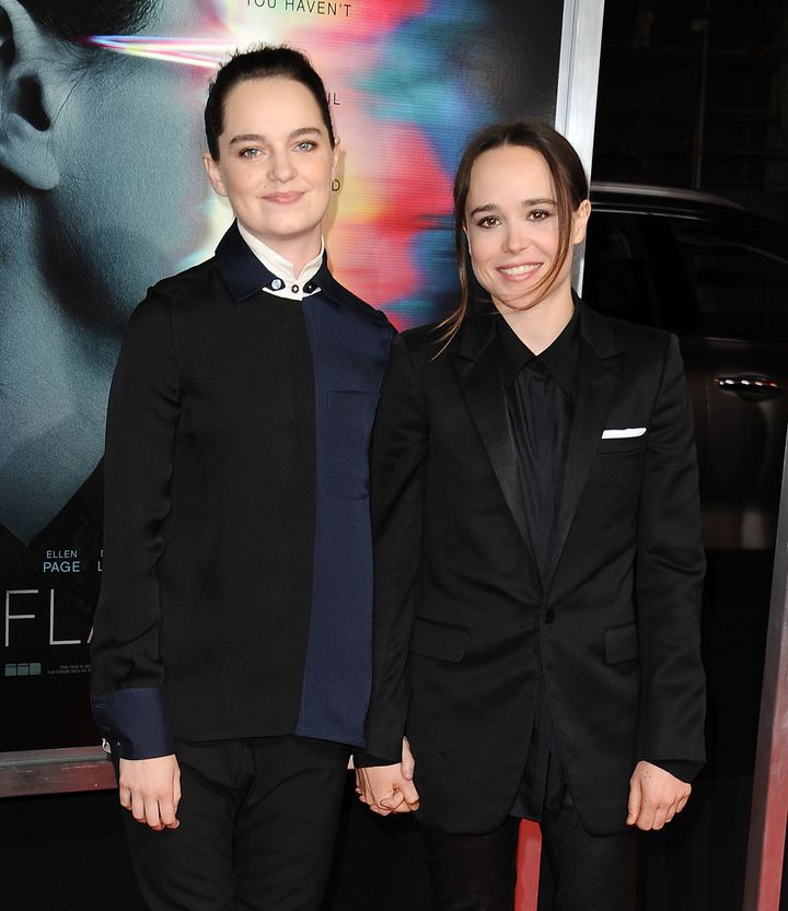 "Emma Portner (left) and Ellen Page attend the premiere of ""Flatliners"" at The Theatre at Ace Hotel in September 2017."
