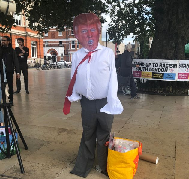An effigy of Trump. Organisers encouraged protestors to throw 'spare' milkshakes at it later in the