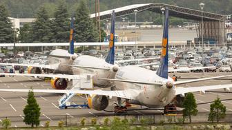 SEATTLE, WA - MAY 31: Boeing 737 MAX airplanes from Icelandair sit parked in a parking lot at a Boeing facility adjacent to King County International Airport, known as Boeing Field, on May 31, 2019 in Seattle, Washington.  Boeing 737 MAX airplanes have been grounded following two fatal crashes in which 346 passengers and crew were killed in October 2018 and March 2019. (Photo by David Ryder/Getty Images)
