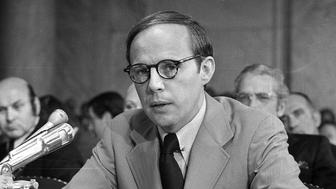 John Dean, former counsel to President Nixon, testifies during Senate Watergate hearing, B&W photo