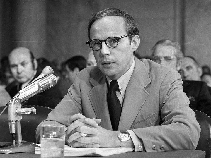 John Dean testifies before Congressat a Watergate hearing in 1973.