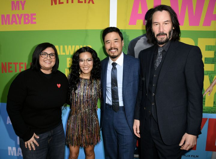"Nahnatchka Khan, Ali Wong, Randall Park and Keanu Reeves arrive at the premiere of Netflix's ""Always Be My Maybe"" on May 22."