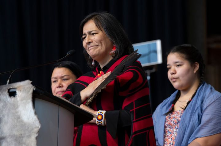 Commissioner Michele Audette speaks during ceremonies marking the release of the Missing and Murdered Indigenous Women report in Gatineau on June 3, 2019.