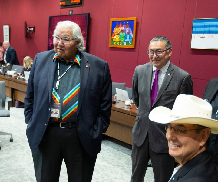 Senator Murray Sinclair, left, along with lawyer and former member of Parliament, Wilton Littlechild, right, and NDP MP Romeo Saganash attend a Senate Aboriginal peoples committee meeting in Ottawa on Tuesday May 28, 2019.