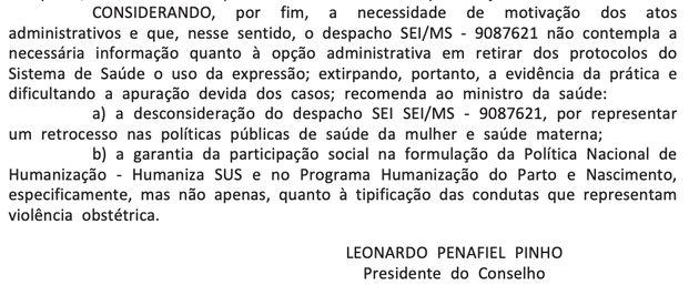 Recomendação foi publicada no Diário Oficial da União nesta segunda-feira