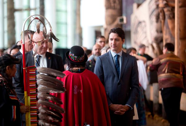 Prime Minister Justin Trudeau greets attendees at the closing ceremony in Gatineau, Quebec on June 3,