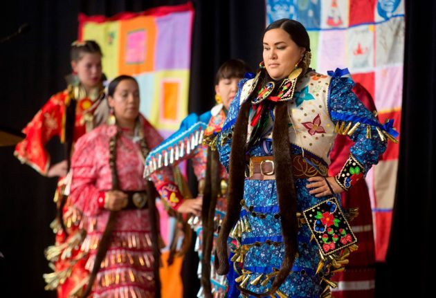 Jingle Dancers perform at the closing ceremony in Gatineau, Quebec on June 3,