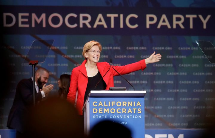 Sen. Elizabeth Warren (D-Mass.), a 2020 presidential candidate, waves before speaking during the 2019 California Democratic P