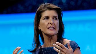 Former Ambassador to the U.N. Nikki Haley, speaks at the 2019 American Israel Public Affairs Committee (AIPAC) policy conference, at Washington Convention Center, in Washington, Monday, March 25, 2019. (AP Photo/Jose Luis Magana)