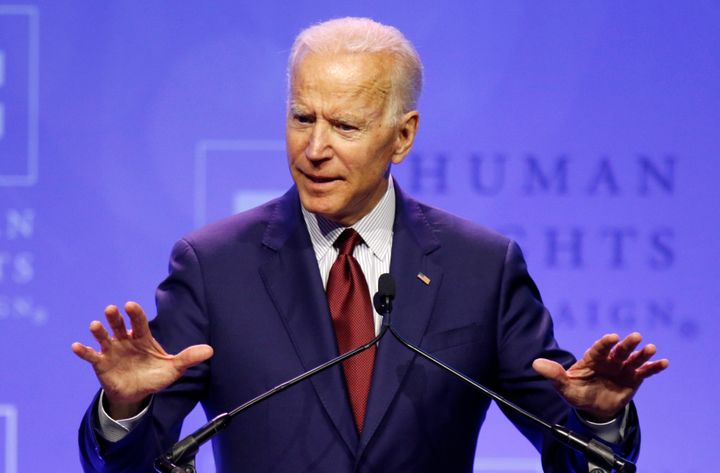 Joe Biden speaks at a Human Rights Campaign dinner in Columbus, Ohio, on Saturday.