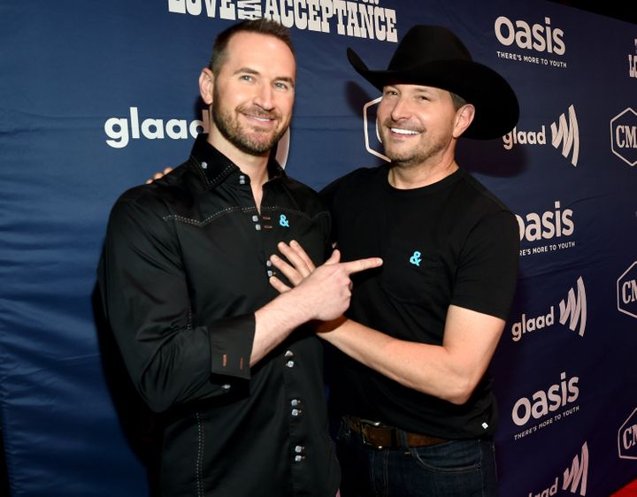 Singer Ty Herndon (right) with his longtime partner, Matthew Collum, in 2018.