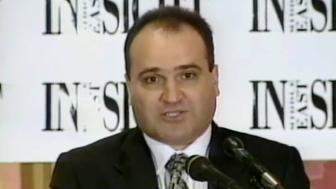 FILE - This 1998 frame from video provided by C-SPAN shows George Nader, president and editor of Middle East Insight. As an adviser to Abu Dhabi's crown prince, Sheikh Mohammed bin Zayed Al Nahyan, Nader worked throughout 2017 with Elliott Broidy, a fundraiser for President Donald Trump, in a secretive lobbying effort to alter U.S. policy in the Middle East. Nader is now cooperating with U.S. special counsel Robert Mueller's investigation into foreign meddling in American politics. (C-SPAN via AP, File)