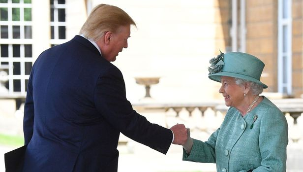 Britain's Queen Elizabeth II (R) shakes hands with US President Donald Trump during a welcome ceremony at Buckingham Palace in central London on June 3, 2019, on the first day of the US president and First Lady's three-day State Visit to the UK. - Britain rolled out the red carpet for US President Donald Trump on June 3 as he arrived in Britain for a state visit already overshadowed by his outspoken remarks on Brexit. (Photo by Victoria Jones / POOL / AFP)        (Photo credit should read VICTORIA JONES/AFP/Getty Images)