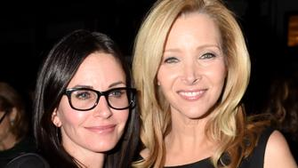 """HOLLYWOOD, CA - NOVEMBER 05:  Actress Courteney Cox (L) and Creator/Executive Producer/actress Lisa Kudrow attend the after party for the premiere of HBO's """"The Comeback"""" at the El Capitan Theatre on November 5, 2014 in Hollywood, California.  (Photo by Jeff Kravitz/FilmMagic)"""