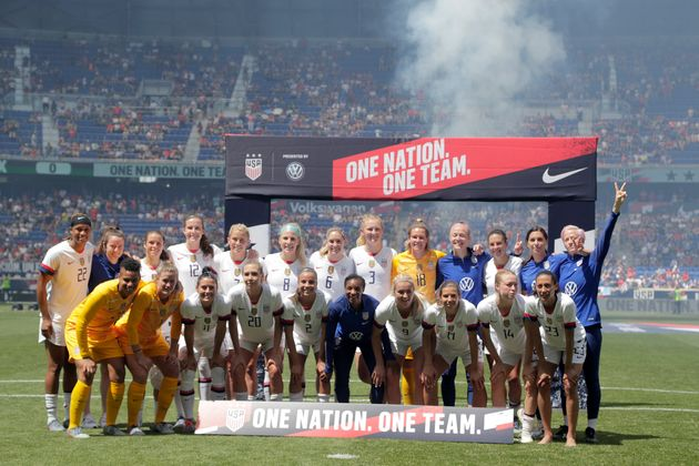L'équipe féminine américaine avant une rencontre amicale contre le Mexique le 26...