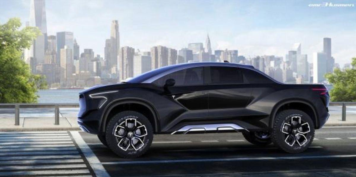 汽車設計師 Emre Husmen 繪製 Tesla 皮卡的預想圖,充滿未來風格。