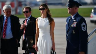 """Former White House communications director Hope Hicks arrives at John Glenn Columbus International Airport with US President Donald Trump (out of frame) in Columbus, Ohio on August 4, 2018. - Trump will be hosting a """"Make America Great Again"""" rally in the Columbus suburb of Lewis Center. (Photo by MANDEL NGAN / AFP)        (Photo credit should read MANDEL NGAN/AFP/Getty Images)"""