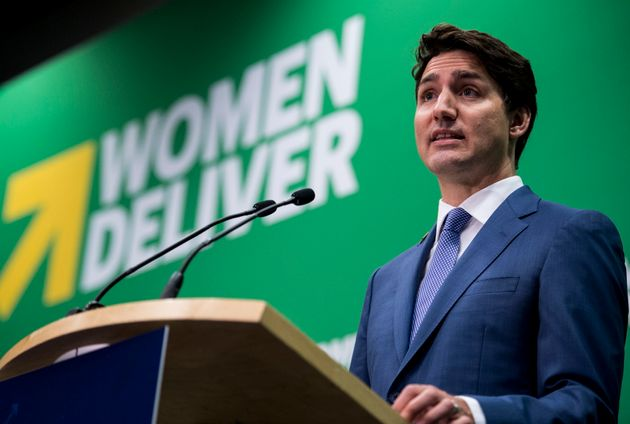 Prime Minister Justin Trudeau addresses the media at the Women Deliver Conference in Vancouver on June...