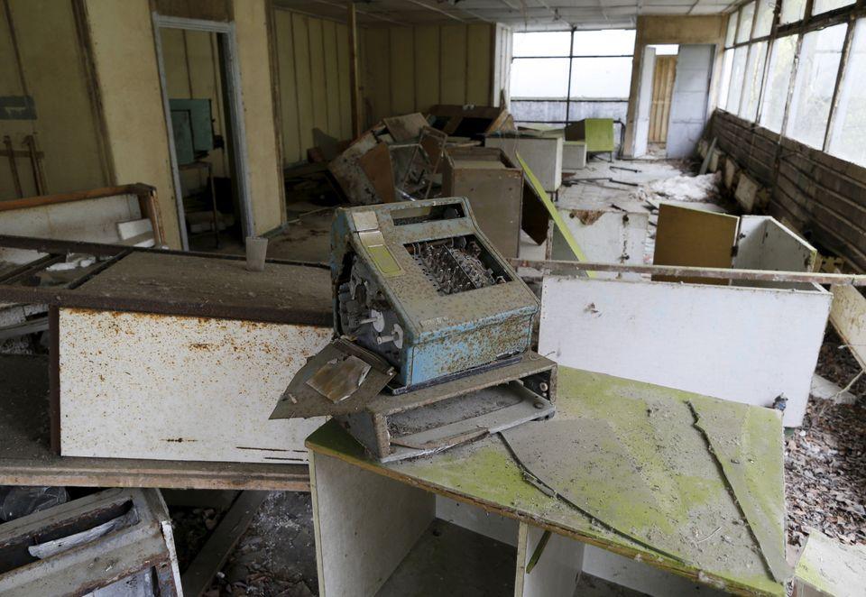 Interior de um edifício na cidade abandonada de