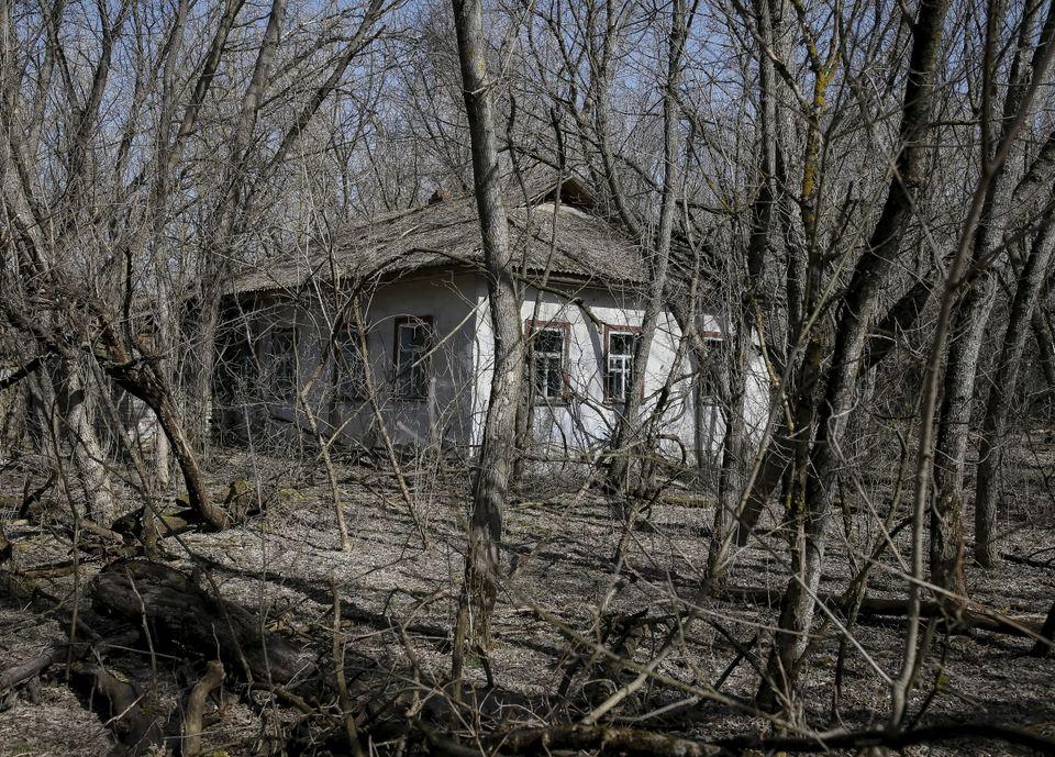 Uma casa na aldeia abandonada de Zalesye, perto da usina de