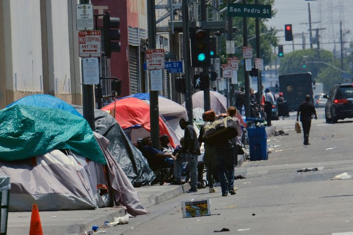 People living homeless in tents on a street in downtown Los Angeles -- May 30, 2019.