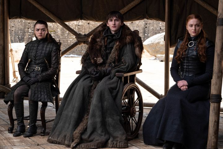 Arya, Bran and Sansa Stark at the end of Season 8.