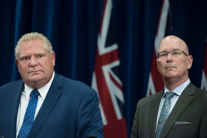 Ontario Premier Doug Ford and Housing MinisterSteveClark attend a press conferenceon Sept. 10, 2018 in Toronto.