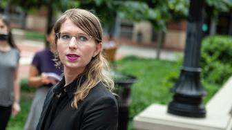 Former military intelligence analyst Chelsea Manning speaks to the press ahead of a Grand Jury appearance about WikiLeaks, in Alexandria, Virginia, on May 16, 2019. (Photo by Eric BARADAT / AFP)        (Photo credit should read ERIC BARADAT/AFP/Getty Images)