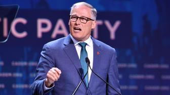 Democratic presidential candidate Jay Inslee speaks during the 2019 California Democratic Party State Convention at Moscone Center in San Francisco, California on June 1, 2019. (Photo by Josh Edelson / AFP)        (Photo credit should read JOSH EDELSON/AFP/Getty Images)