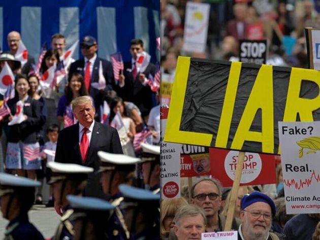 日本で歓迎を受けるトランプ大統領(左)、イギリスでの反トランプ・デモ(右)