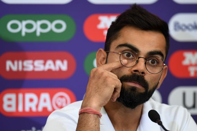 Virat Kohli attends a press conference at the Hampshire Cricket indoor centre in