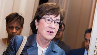 UNITED STATES - MAY 14: Sen. Susan Collins, R-Maine, arrives for the Republican Senate Policy Luncheon in the Capitol on Tuesday, May 14, 2019. (Photo By Tom Williams/CQ Roll Call)