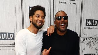 "NEW YORK, NY - SEPTEMBER 25:  (L-R) Actor Jussie Smollett and director Lee Daniels discuss their show ""Empire"" at Build Studio on September 25, 2017 in New York City.  (Photo by Astrid Stawiarz/Getty Images)"